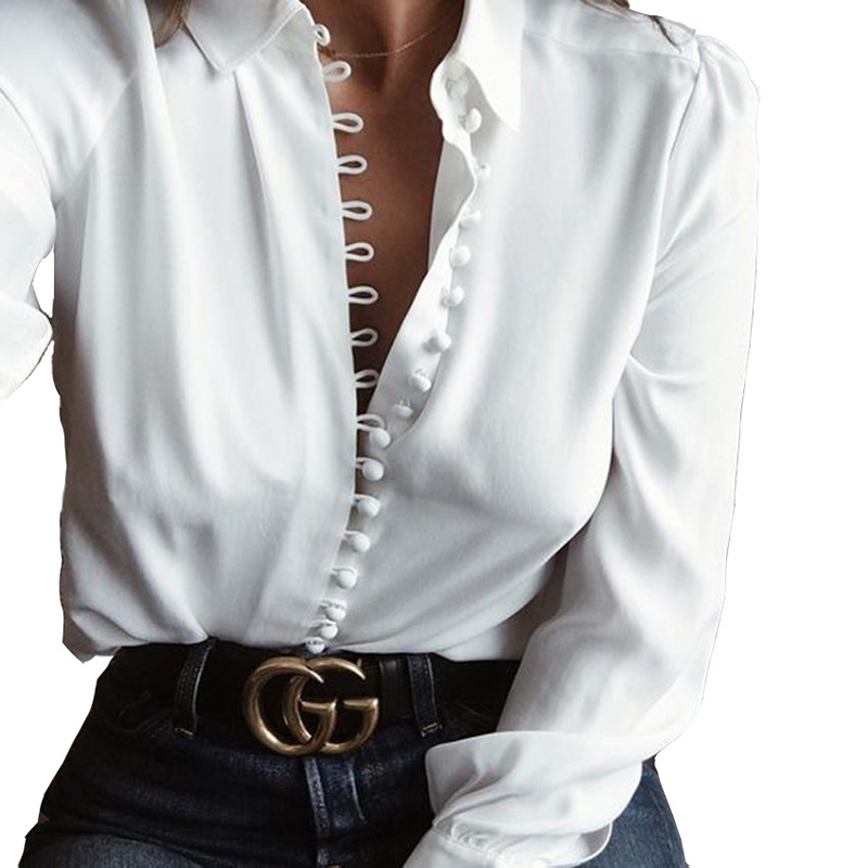 Fashion chiffon blouse autumn buttons white women tops  vintage long sleeve turn- down collar  ladies office women blouse