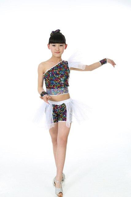 Girls Sequins Jazz Dance Costume Children DS Dance Clothes Cheerleaders Costumes Ballroom Dancewear