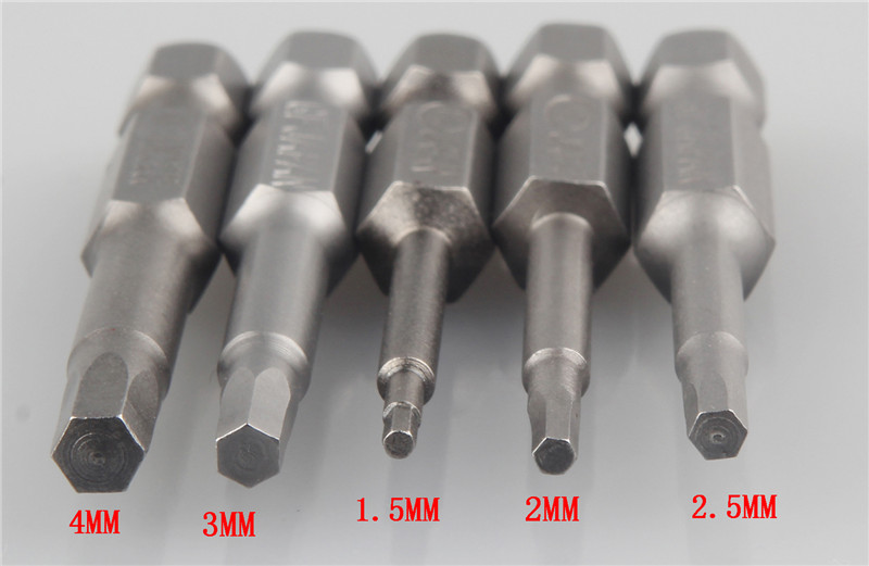 5pcs/Set Magnetic Hexagon Screwdriver Bits S2 Steel 1/4