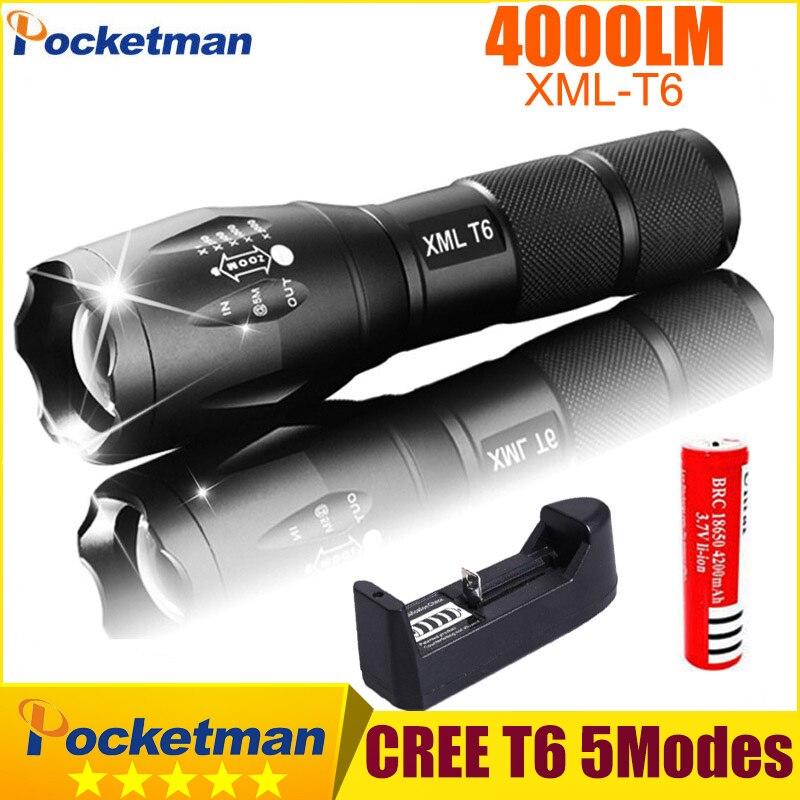 Linterna Táctica de La Antorcha Zoom Linternas Lanterna CREE XM-L T6 4000LM LED Linterna para 3 xAAAor 18650 Batería Recargable z93