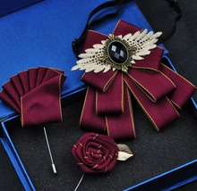 Free shipping New fashion mens male man handmade Short British style bow tie set formal business Korean wedding groom groomsmen
