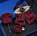 Frete grátis nova moda masculina homem artesanal curto estilo britânico laço conjunto formal de negócios coreano noivo padrinhos casamento