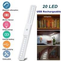 USB аккумуляторная 20 светодиодов под шкаф свет датчика движения свет шкаф гардероб лестница кухонный датчик ночник