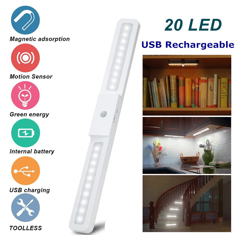 USB Rechargeable 20 LED Under Cabinet Light Wireless Motion Sensor Light Wardrobe Closet Stairs Kitchen Sensor Night Light LampUSB Rechargeable 20 LED Under Cabinet Light Wireless Motion Sensor Light Wardrobe Closet Stairs Kitchen Sensor Night Light Lamp