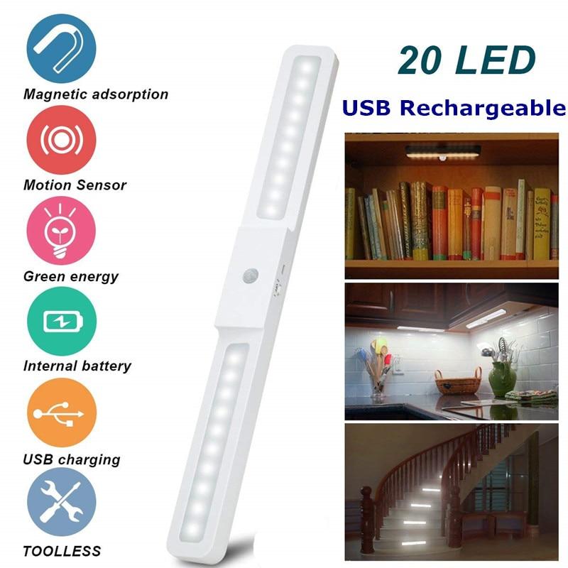 USB Rechargeable 20 LED Under Cabinet Light Wireless Motion Sensor Light Wardrobe Closet Stairs Kitchen Sensor Night Light Lamp