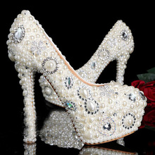 Exquisite Princess Wedding Shoes Pearls Beaded Lady High Heel Beauty Party Dresses Bride Stilettos Almond with Rhinestones