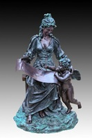 Life size Europe style Bronze sculptures woman with angel Statues outdoor garden Park Decoration