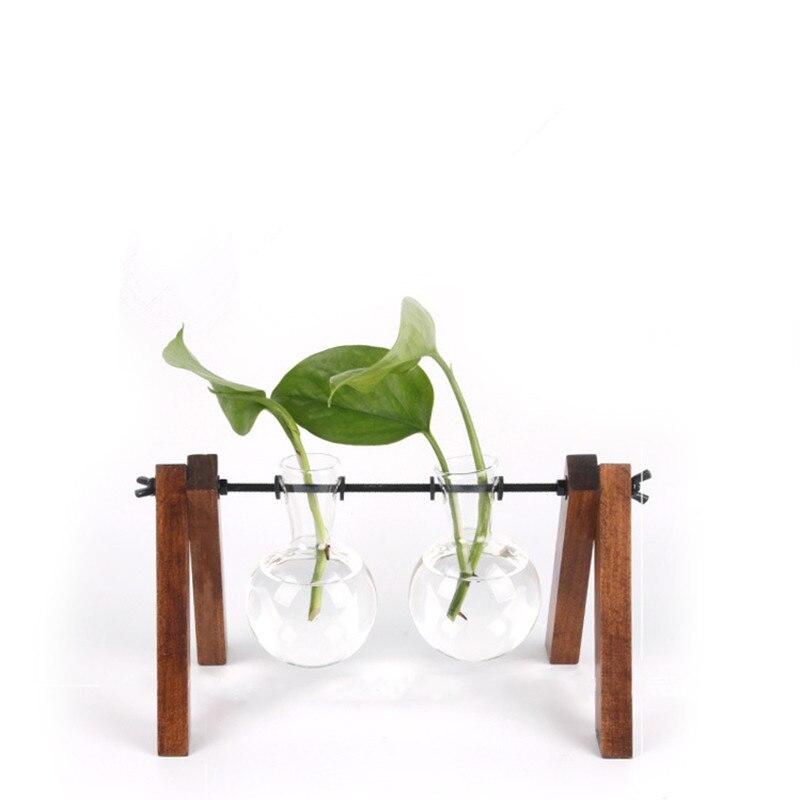 Livraison gratuite support en bois Vase en verre plante verte bouteille d'eau salon bureau décoration de bureau Vase en verre Transparent