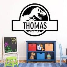 Spersonalizowane nazwa naklejki ścienne winylowe Park jurajski dinozaur naklejka nazwa niestandardowa dla chłopca sypialnia kreatywna dekoracja domu DIY ER44