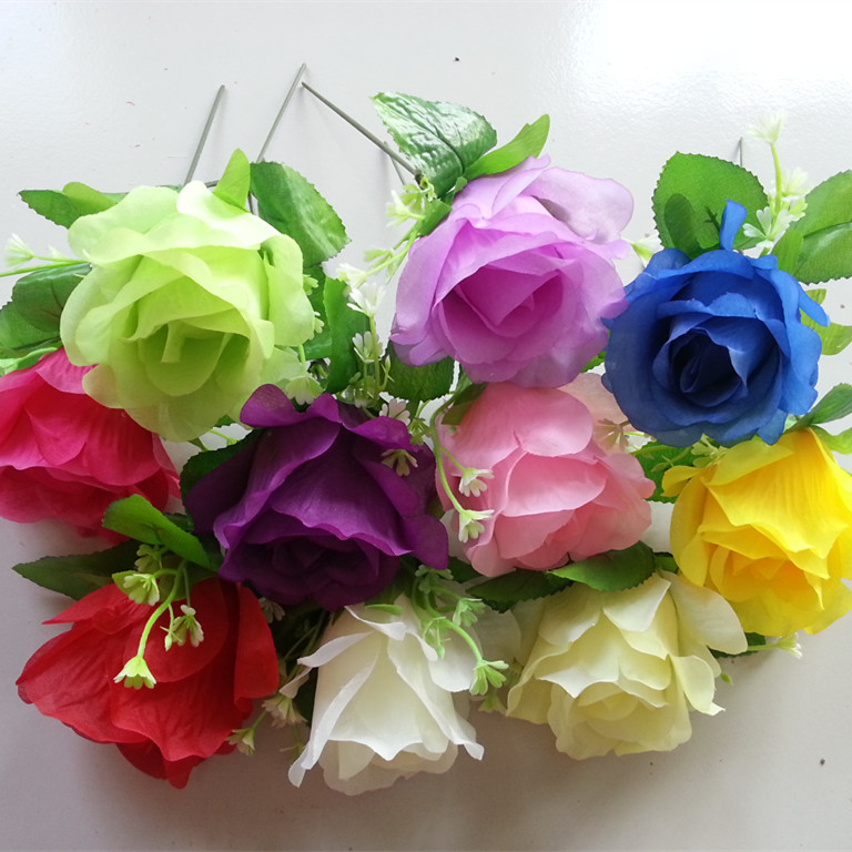 Artificial Silk Applique Rose 10PCS 8*15cm Pink White Blue Red Roses For Wedding Flower Arch