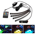 "4PCS/Set 12"" LED Strips Car Charge Interior RGB Light Accessories Foot Car Decorative LED Light Remote"