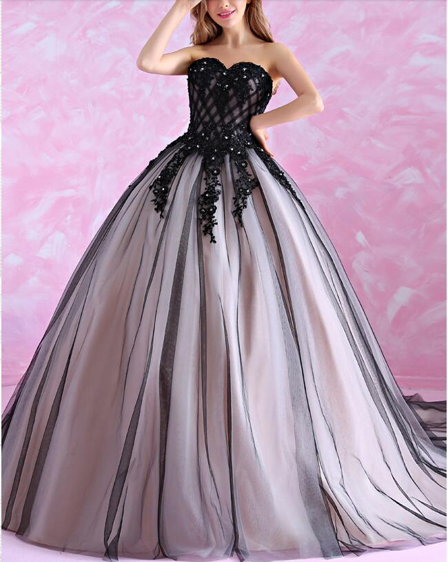 2017 ball gown black gothic wedding dresses sweetheart for Gothic corset wedding dresses