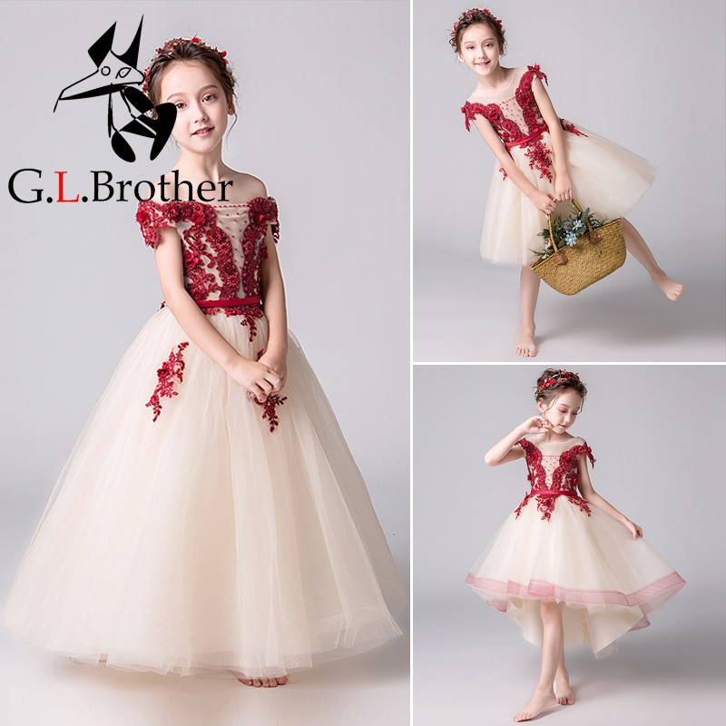 5 Styles Liques Flower Dresses For Wedding Ball Gown Holy Communion Dress Birthday Party Gowns Kids Pageant B199