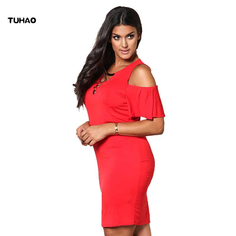 TUHAO 2019 vestidos de verano de hombro vestidos de talla grande Vestido rojo Sexy Vestido de fiesta Vestido Casual de gran tamaño ropa de mujer BC33