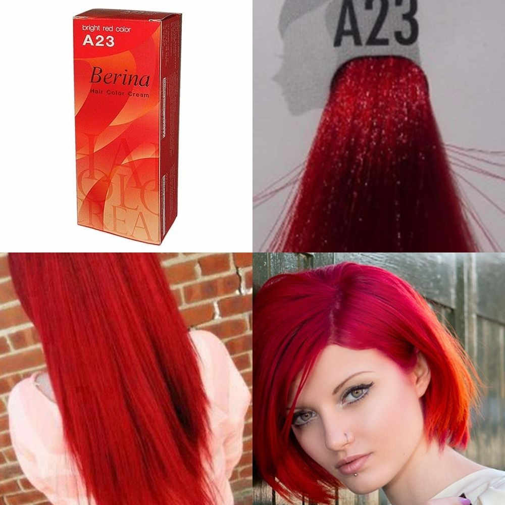 BERINA PROFESSIONALS Hair Cream-Permanent Dye Color - A23 Bright Red Free  Shipping