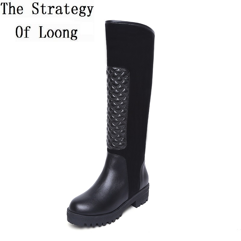 Women Winter Genuine Leather Low Heel Chunky Heel Side Zip Long Boots Lady Spring Autumn Knee High Boots Plus Size 34-42 SXQ1006