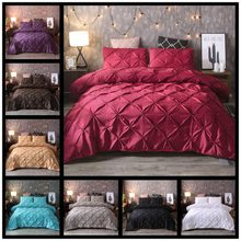 Silk Cotton 3D Pull Flowers Luxury Bedding Set King Queen Size Royal Wedding Bed Set 2/3Pcs Pillowcase and Duvet Cover Sets(China)