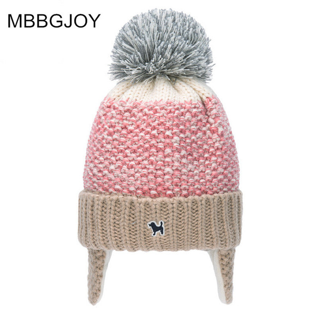 mbbgjoy kids knitted hats with fleece thick ears care winter caps. e05087a8b1ef