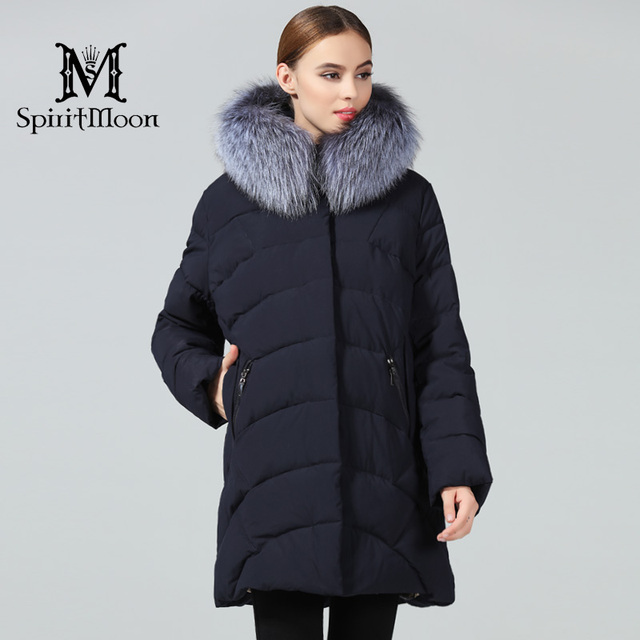 Special Price SpiritMoon 2018 Womens Winter Jackets Brand Medium Length Women's Parka Hooded Warm Coat Natural Fur Collar Plus Size 8XL 10XL