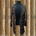 mens stage performance black and golden fullsequined leopard tuxedo jacket stage wear/singing/bar/event/club/performance acket