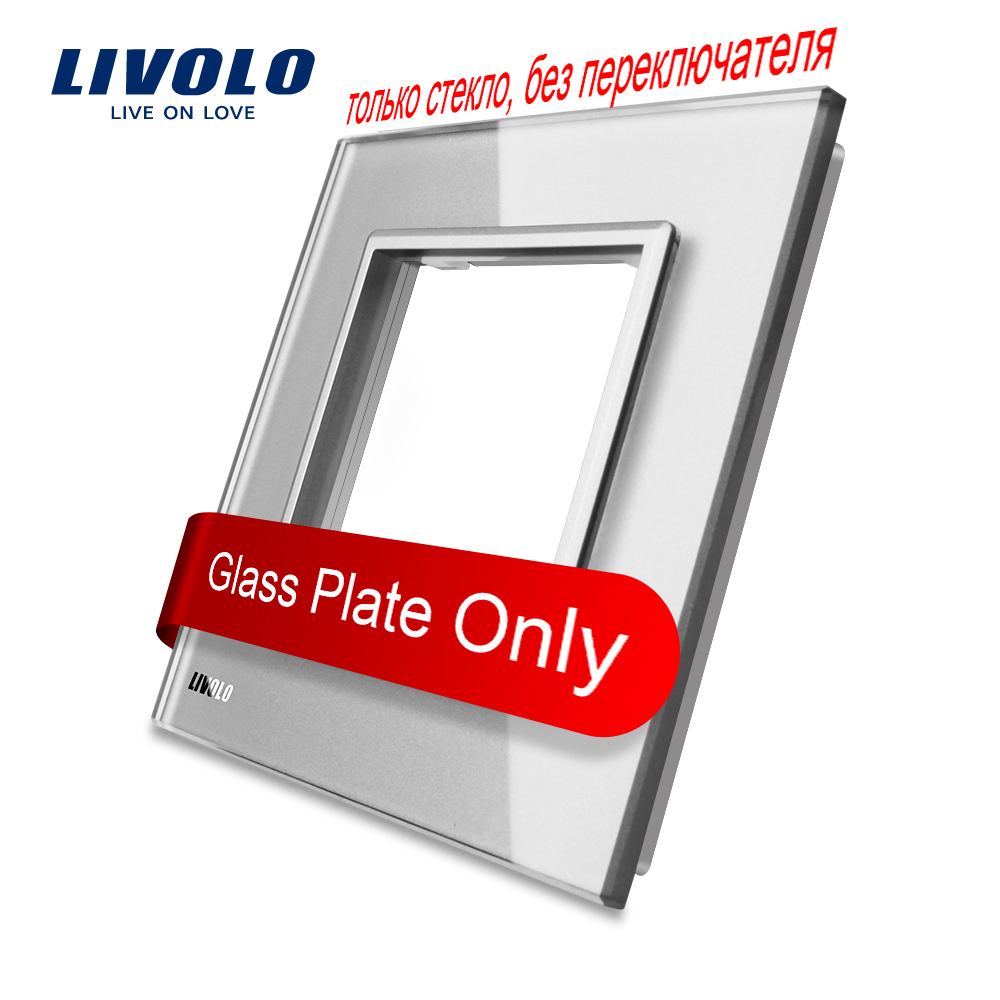 Livolo Luxury Grey Pearl Crystal Glass, 80mm*80mm, EU standard, Single Glass Panel For Wall Switch Socket,VL-C7-SR-15