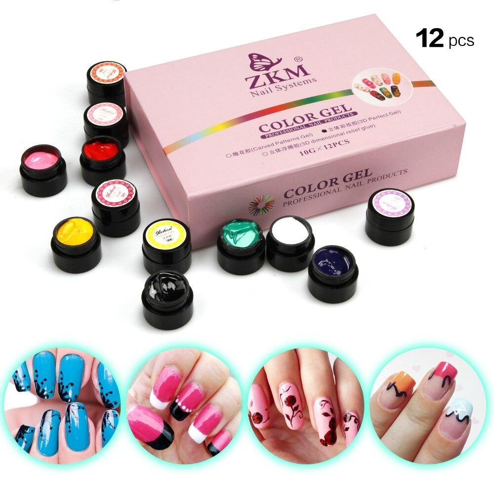 12 Colors Acrylic Paint Gel 3D Nail Art Paint Color Gel ...
