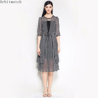 Arbitmatch Women Summer Dresses Women Elegant Stripe Fashion Designer O Neck A Line Ladies Party Dress