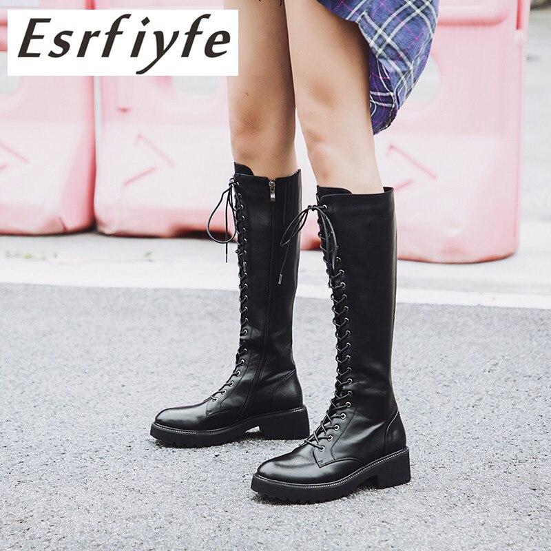 abf41beaa6c870 Echtem Square Schuhe 34 Fashion Frau Plattform Schwarzes Winter Herbst 2018  Esrfiyfe Größe Ferse Neue Frauen Kniehohe Leder Stiefel Große 43 qAW786x
