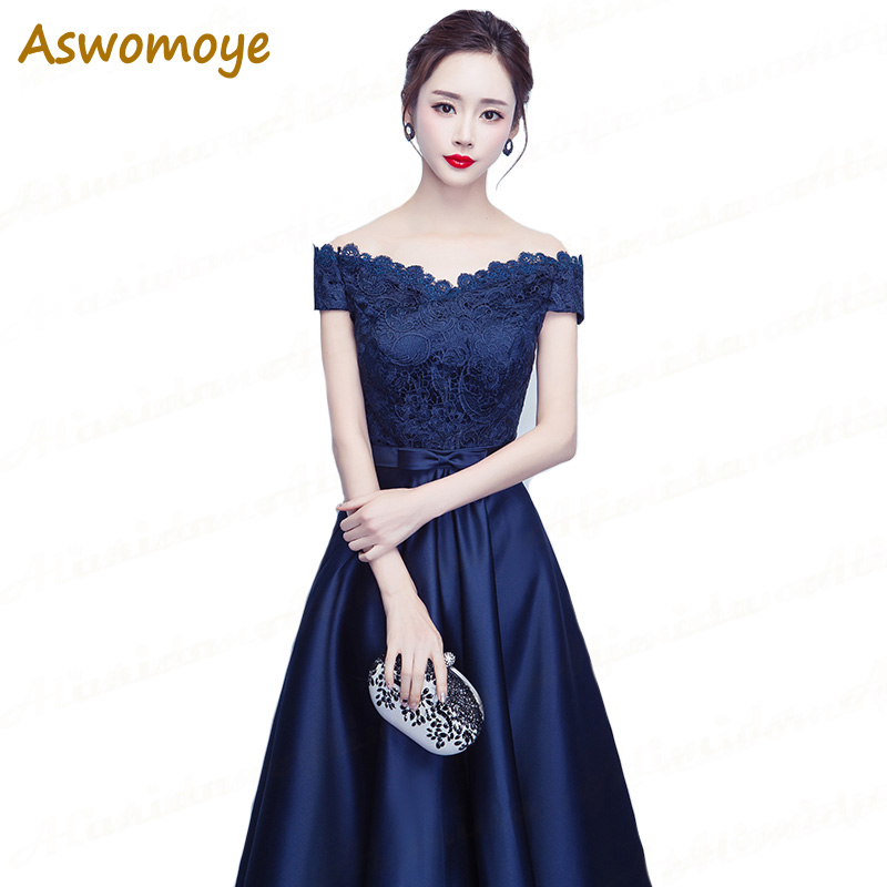 Aswomoye Royal Blue   Evening     Dress   2018 New Fashion Prom   Dresses   Embroidery Lace A-Line Party   Dress   Tea Length robe de soiree