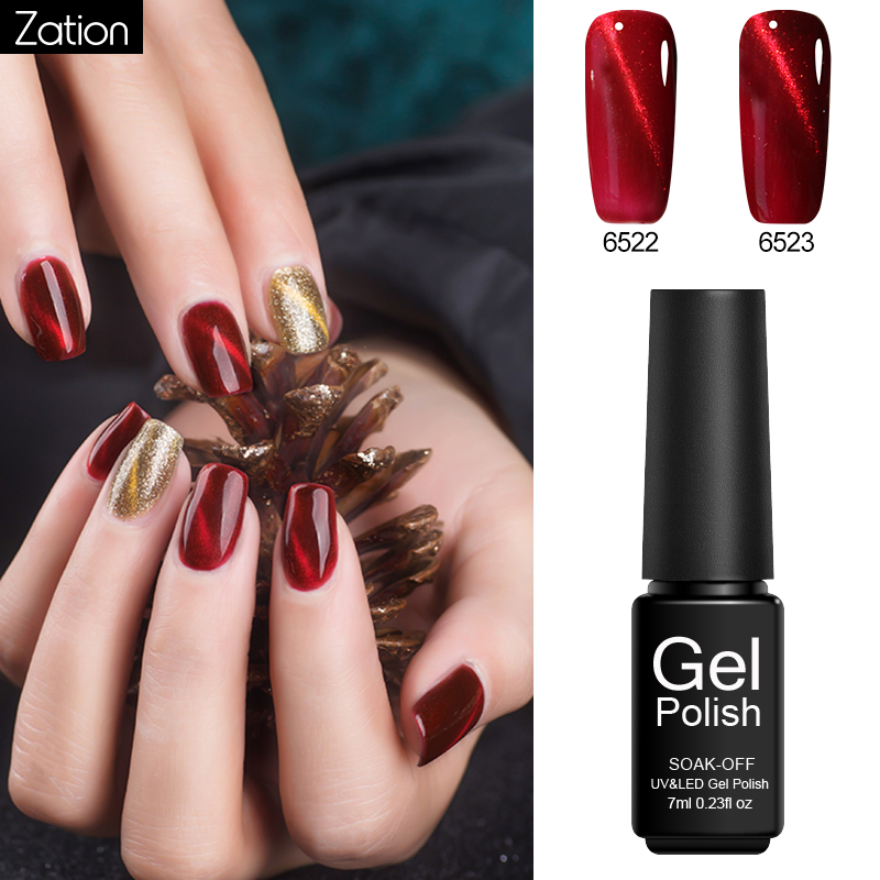 Zation Red Cat Eye UV LED Lamp Nail Polish Soak Off Shimmer Shine Permanent Lucky Gel Lacquer Magnetic Long Lasting Acryl Gel