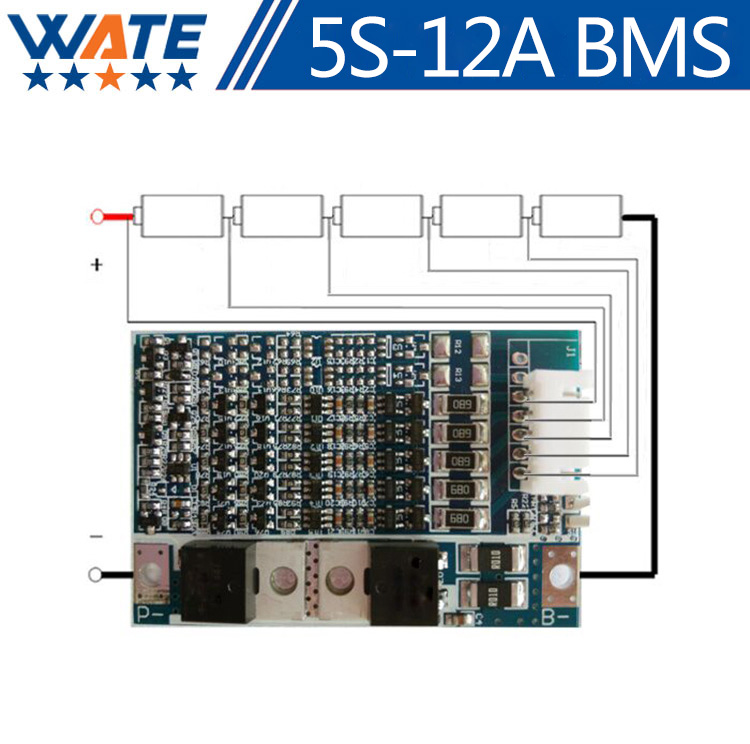 5S 12A lithium battery protection board with a balanced function 18650 battery protection 21v lithium battery protection board 3 series lithium battery protection board red 30a