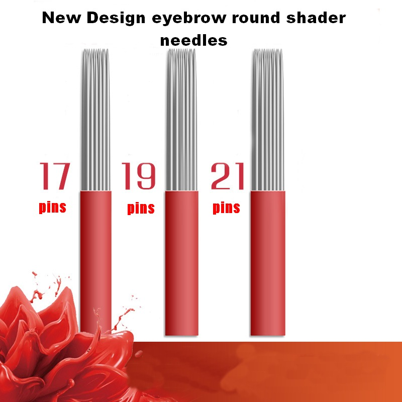 50PCS 17 19 21 Pin Mixed Round Shader permanent makeup eyebrow tattoo needles microblading needle for fog manual pen