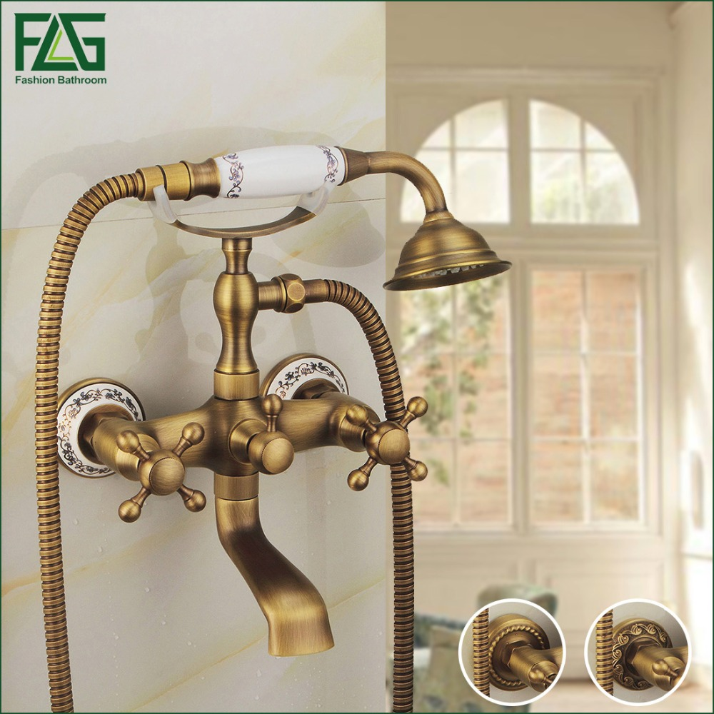 FLG Antique Copper Carving Wall-mounted Shower Set With Ceramic Fashion Quality Copper Shower Bathroom Sanitary Ware Shower Set china sanitary ware chrome wall mount thermostatic water tap water saver thermostatic shower faucet