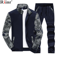 Riinr 2018 Fashion New Arrival Men's Sporting Suit Spring&Autumn Brand Casual Hoodies Two Pieces Sets Sportwear Sweatshirts Set