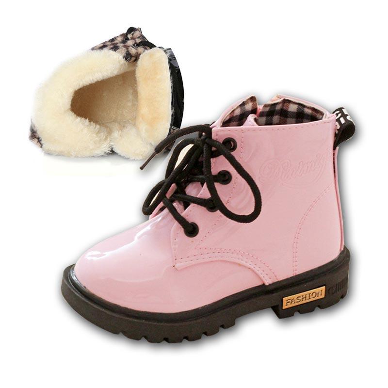 63ba48861119d 2018 garçons filles bottes d'hiver enfants chaussures Pu cuir bottes  imperméables mode cheville bottes