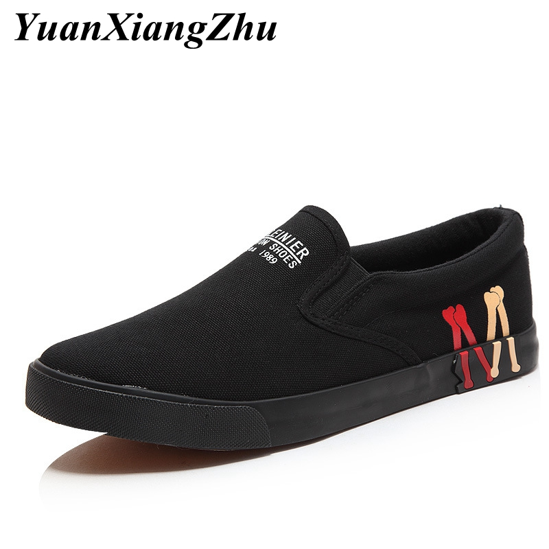 New Men Casual Shoes Black White Solid Canvas Shoes Man Loafers 2019 Summer Breathable Fashion Sneakers Men Slip-On Flat Shoes