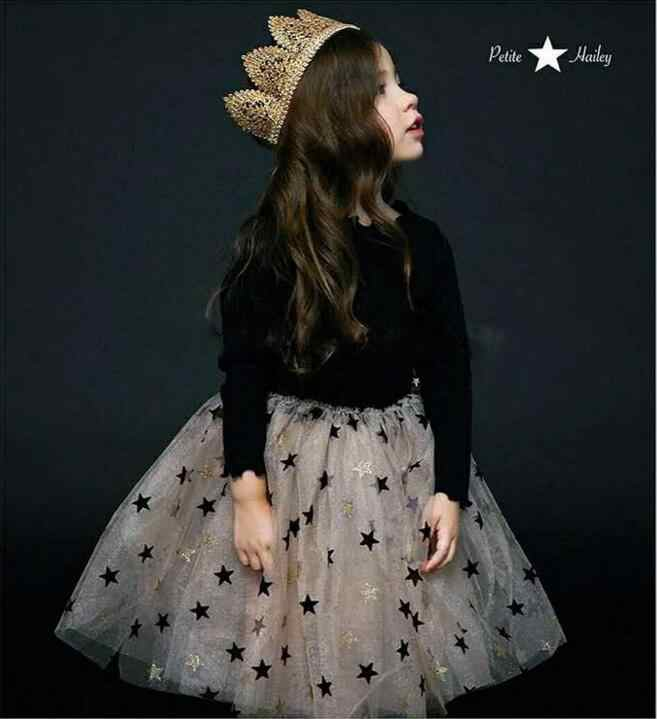 03aa74d06034 Ins Kids Sparkle Stars Full Sleeve Cotton Gauze Dress Little Girls Shiny  Xmas Party Dress Children