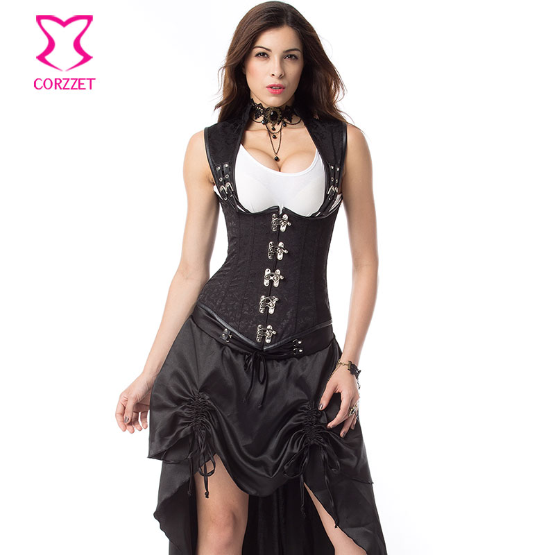 9234b8b5046 Black Brocade Collar Cupless Steampunk Corset Steel Bone Underbust Waist  Trainer Vest Sexy Women Gothic Clothing Plus Size 6XL-in Bustiers   Corsets  from ...