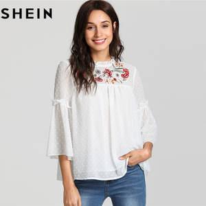 c5076758ae SHEIN White Sleeve Tops 2018 Women Summer Elegent Blouses
