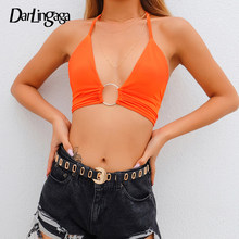 Darlingaga Neon Orange Streetwear Halter Top Bh Sexy Cami Backless Lace up Crop Top Frauen 2019 Gestellte Sommer Tops Sleeveless(China)