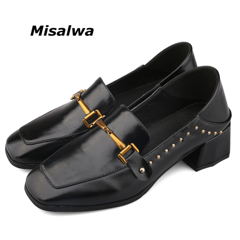 Rivets Buckle Retro Women Spring Elegant Pumps Ladies -1865