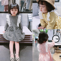 Baby girl cloth Spring & autumn girls dress lattice Lace long sleeve loose cotton middle kids princess dresses for girls
