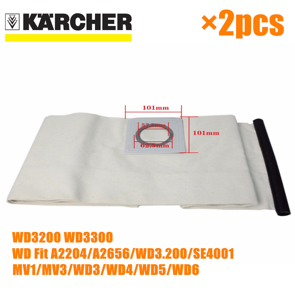 2 PCS For KARCHER VACUUM CLEANER Cloth DUST Filter BAGS WD3200 WD3300 WD Fit A2204/A2656/WD3.200/SE4001/MV1/MV3 насос садовый karcher bp 3 garden
