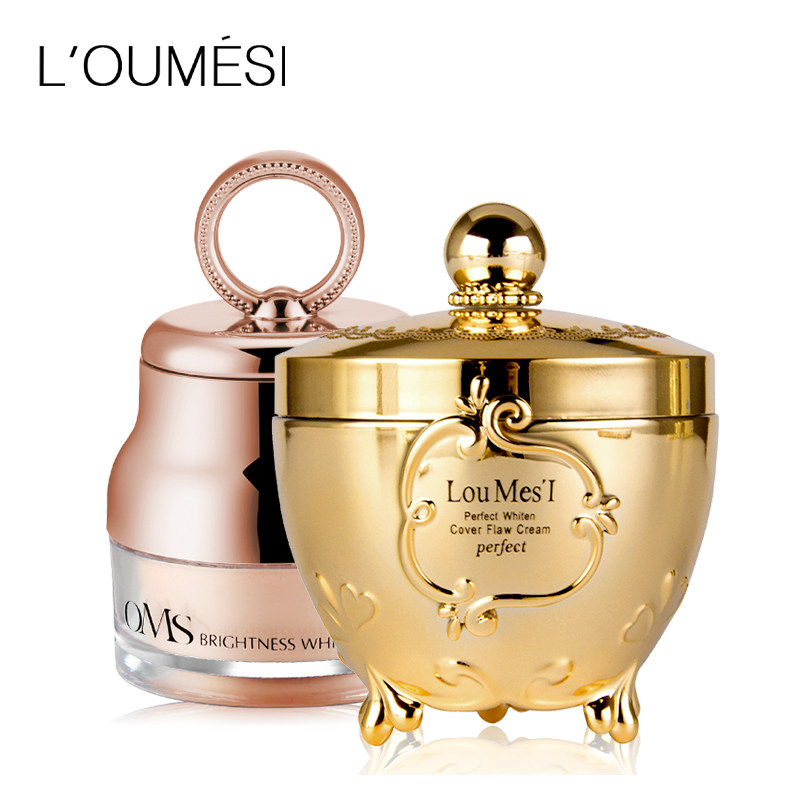 Loumesi concealer cream and loose powder set Face Foundation Makeup Skin Care Make Up Concealer Moisturizing foundation loumesi air whitening air cushion bb cream loose powder face powder make up primer face foundation base makeup