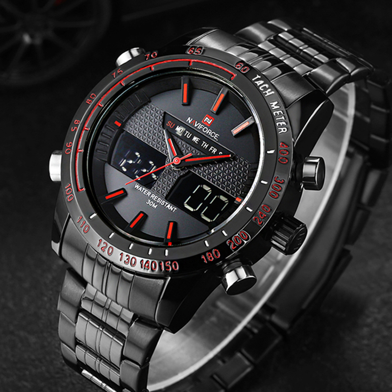 Watches font b men b font NAVIFORCE 9024 luxury brand Full Steel Quartz Clock Digital LED