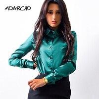 MOARCHO Women Silk Satin Blouse Button Lapel Long Sleeve Shirts Ladies Office Work Elegant Female Top