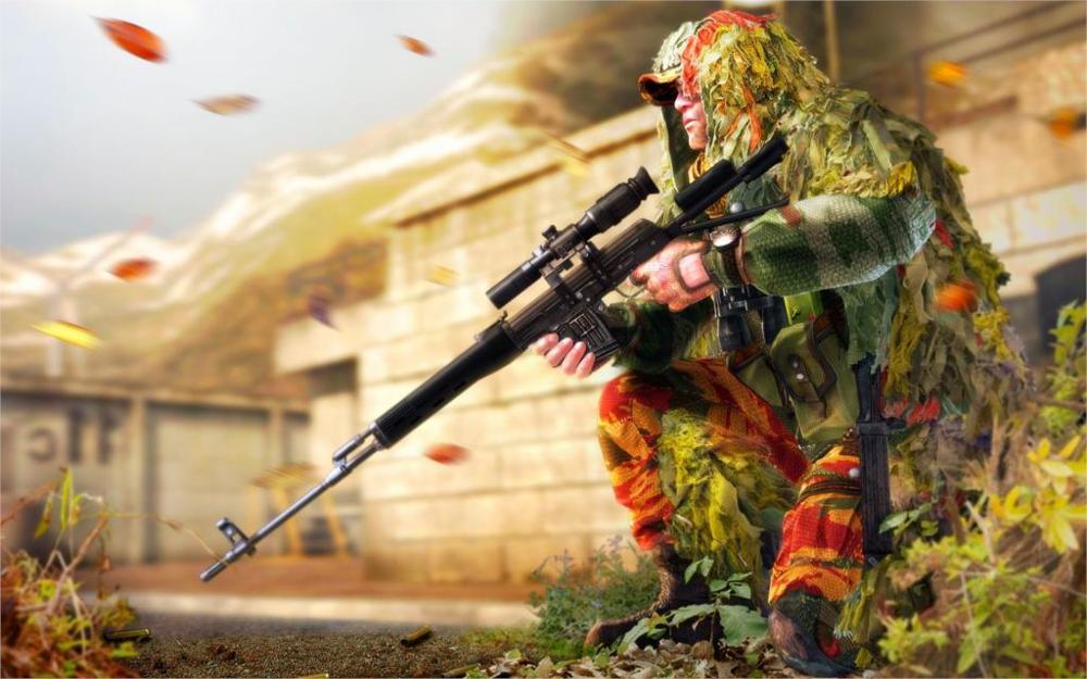 art soldier sniper camouflage cloak sniper rifle SVD grass glasses ...