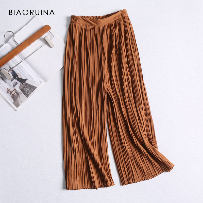 BIAORUINA Women Caramel Solid Casual   Wide     Leg     Pant   High Waist Women's Loose Pleated   Pant   Casual Stretching   Pant   Ankle Length