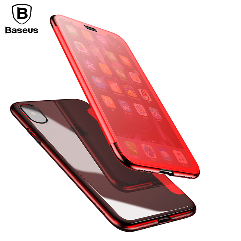 Case For iPhone X Original BASEUS Flip Case For iPhone X Capinhas TPU & Touch Tempered Glass Cover Case For iPhoneX Flip Cover