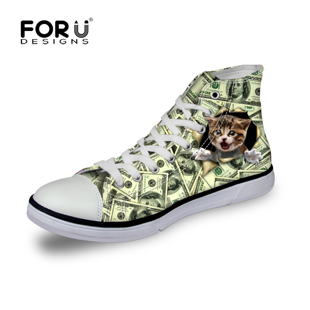 Women's Shoes Shoes Forudesigns Novelty Animal Cat In Dollars Print High Top Canvas Shoes Women Vulcaniz Shoes High Quality Female Comfort Flat Shoe